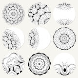 Vector set with mandala. Background abstract circle ornament. De Royalty Free Stock Images