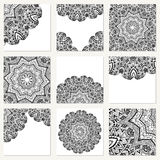 Vector set with mandala. Background abstract circle ornament. Decorative retro element. Invitation card on wedding, birthday. Stock Photos
