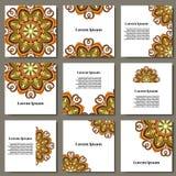 Vector set with mandala. Background abstract circle ornament. Decorative retro element. Invitation card on wedding, birthday. Stock Photography