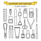 Vector set of manicure and pedicure doodle equipment. Stock Photos