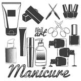 Vector set of manicure tools. Nails manicure. Beauty salon and cosmetics accessories. Design elements, icons. Royalty Free Stock Image