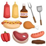 A vector set of many food and sauce for barbeque. Vector set of many food and sauce for barbeque royalty free illustration