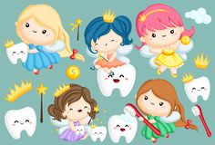 Tooth Fairy Vector Set. A vector set of many tooth fairy in different colors royalty free illustration