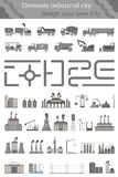Vector set of maps for the industrial city. Vector Set include: Industrial Buildings, Cars, Roads and other Urban Objects and Elements. City map. Vector set of Royalty Free Stock Photo