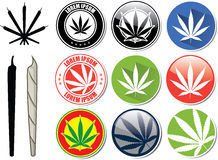 Vector set of marijuana and cannabis buttons Stock Images