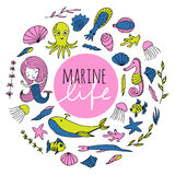 Vector set of marine life. Marine animals, plants and mermaid are arranged in a circle. The inscription Marine life . Vector image drawn by hand in cartoon Royalty Free Stock Photo