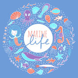 Vector set of marine life on a blue background. Marine animals, plants and mermaid are arranged in a circle. The inscription Marine life . Vector sketch hand Stock Photos