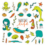 Vector set of marine life. Fish, mermaid, sea animals hand drawn in Doodle style Royalty Free Stock Image