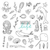 Vector set of marine life. Fish, mermaid, sea animals hand drawn in Doodle style. Black-and-white image Stock Image