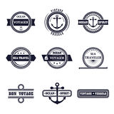 Vector set of marine style labels Stock Photos
