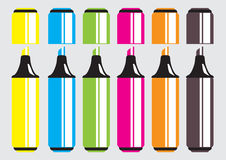 Vector Set of Markers, Highlighters, Felt Tip Pens Royalty Free Stock Images