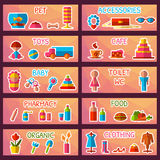 Vector set of market signages in flat style Stock Photography