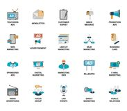 Vector set of marketing and advertising spot flat web icons. Fully editable and easy to use. Vector set of marketing and advertising spot flat web icons. Each Stock Photos