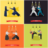 Vector set of martial arts, flat design Royalty Free Stock Image