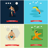 Vector set of martial arts, flat design Stock Photo
