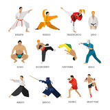 Vector set of martial arts people silhouette isolated on white background. Sport positions. Design elements and icons. Martial arts fighters Royalty Free Stock Photos