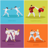 Vector set of martial arts people silhouette. Sport fighters positions illustration. Stock Photography