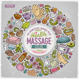 Vector set of Massage cartoon doodle objects Stock Image