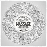 Vector set of Massage cartoon doodle objects Royalty Free Stock Photos