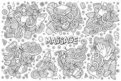 Vector set of Massage and Spa doodle designs Stock Photography