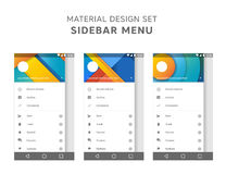 Vector set of material design sidebar menu templates. Mail agent ui elements. User interface design. Android gui. Marshmallow Royalty Free Stock Photos