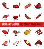 Vector set of meat products stock illustration