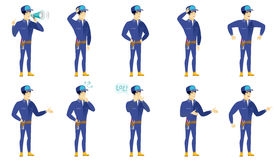 Vector set of mechanic characters. Royalty Free Stock Photography