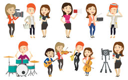 Vector set of media people characters. Stock Images
