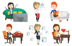 Vector set of media people characters. Stock Image