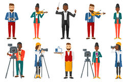 Vector set of media people characters. Stock Photography