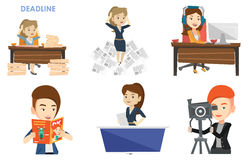 Vector set of media people characters. Royalty Free Stock Photo