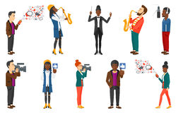 Vector set of media people and musicians. Royalty Free Stock Image