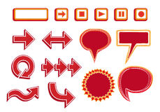 Vector Set of Media Player Buttons, Arrows and Bubbles - red color Stock Photo