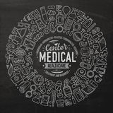 Vector set of Medical cartoon doodle objects Stock Photography