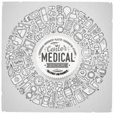 Vector set of Medical cartoon doodle objects Stock Image