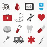 Vector set of medical icons on white background Stock Photography