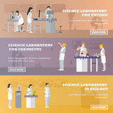 Vector set of medical laboratory banners. Illustration in flat style design. Doctors and scientist working in lab.  vector illustration