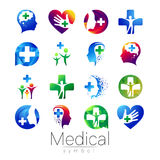 Vector SET of medical sign with cross inside, human profile. Symbol for doctors, website, visit card, icon. Blue color Stock Photos
