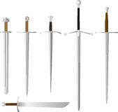 Vector set of medieval swords, steel melee weapon Stock Photos