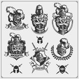 Vector set of medieval warrior knight emblems, logos, labels, badges emblems, signs and design elements. Black and white Vector Illustration