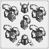 Vector set of medieval warrior knight helmet. Black and white Stock Photo