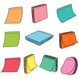 Vector set of memo note. Hand drawn cartoon, doodle illustration stock illustration