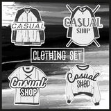 Vector set men casual clothes. Fashion collection of man jersey and shirts. Dress labels in vintage style. Royalty Free Stock Photos