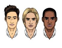 Vector set of men`s faces different nationalities. Stock Images