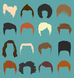 Vector Set: Mens Hair Style Silhouettes in Color. Collection of mens hairdo styles in color vector illustration