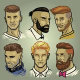 Set of men`s hair styles collection
