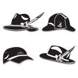 Vector set of men`s hats, deerstalker hat and cap in flat style Stock Photos