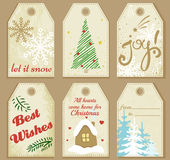 Vector set of Merry Christmas and New Year gift tags. Winter set of Merry Christmas and New Year gift tags and cards. Vector illustration Stock Photo