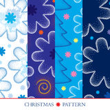 Vector set with Merry Christmas seamless pattern. Dotted swirls, blue and white snowflakes and spruce. Royalty Free Stock Images