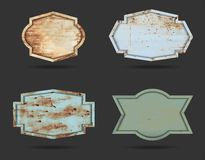 Vector set of metal shield sign plate texture background royalty free stock photography